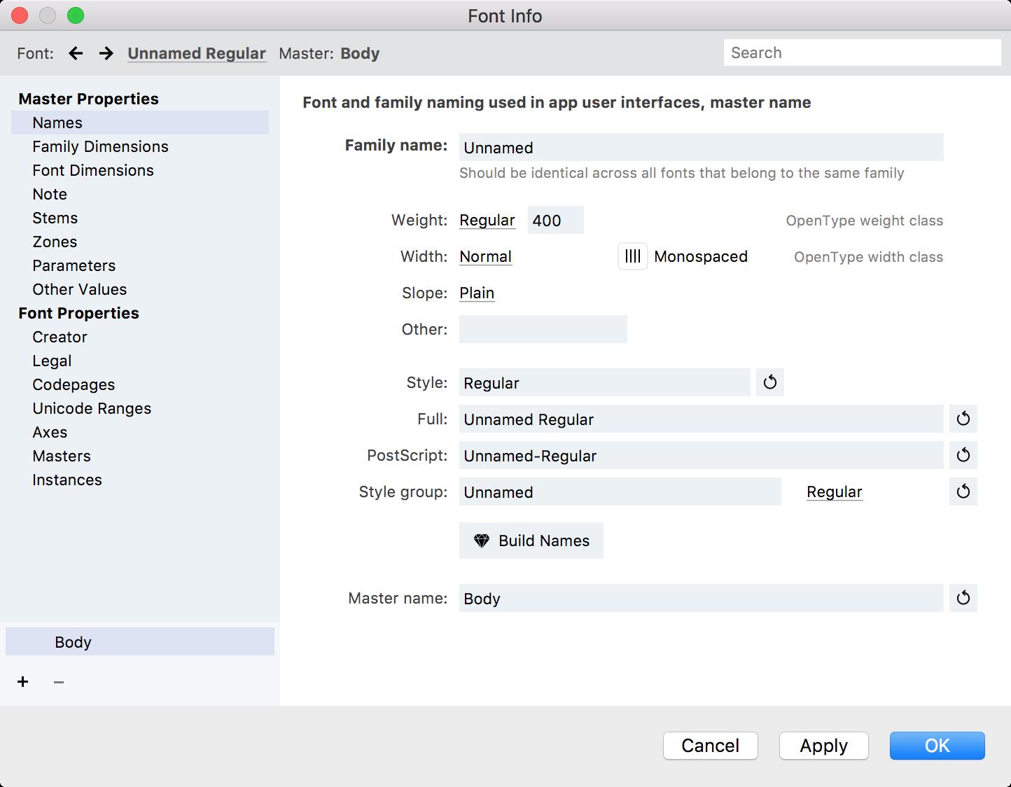 Font Info Dialog Box - FontLab VI Help
