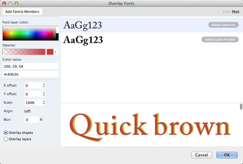 Overlaying Fonts - FontLab VI Help