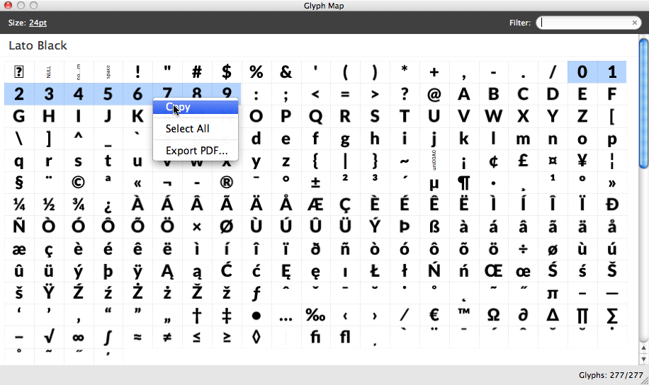 copy paste opentype glyphs into preview panel